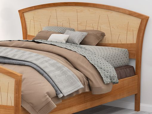 "Custom Made Bed Frame Queen, Headboard, King Size Platform Bed, Wood, Bedroom, Art Deco, Cherry, ""River Rushes"""