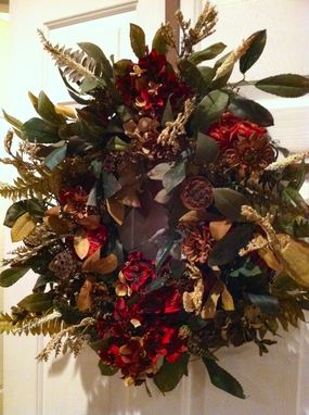 Custom Made Custom Wreath - Burgandy, Cream, Brown, Gold