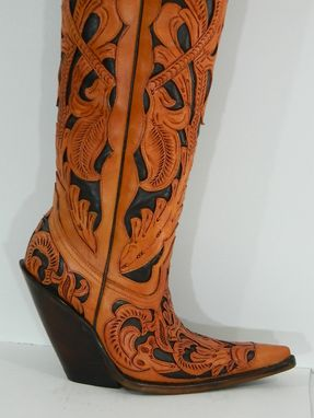 Hand Made 18 168 Tall Hand Tooled Western Cowboy Boots Made To