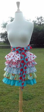 Custom Made Womens Aqua And Red Ruffled 5 Tier Half Apron