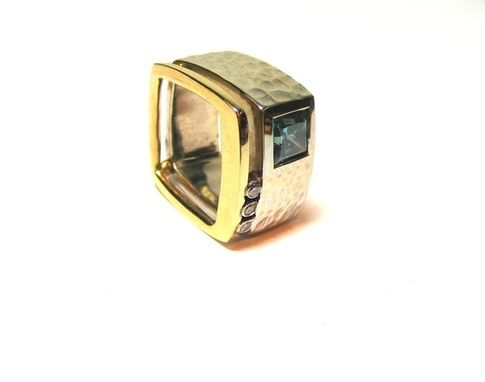 Custom Made Square Blue Diamond Ring In Two Tone 14k.