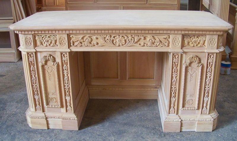 Custom Made Solid Mahogany Presidential Resolute Executive Office Desk