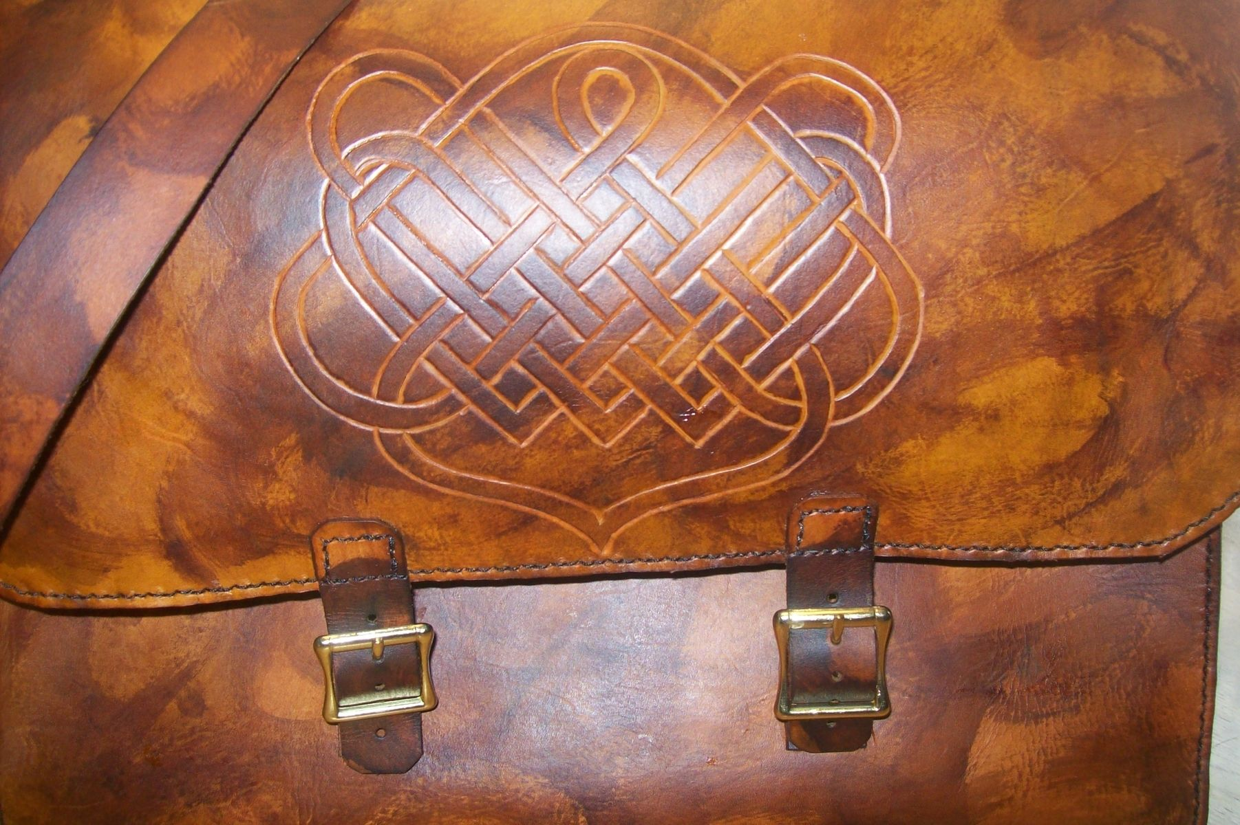 Custom Leather Laptop Bag With Celtic Design In Weathered Color By Kerry Phipps