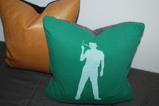 Custom Made 16x16 Vintage Silhouette Pillow - Upcycled T-Shirt Pillow Cover - Green Pillow Cover