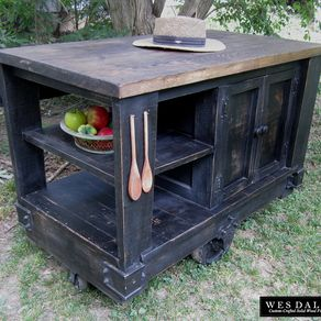 Distressed Black Modern Rustic Kitchen Island Cart With Walnut Stained Top