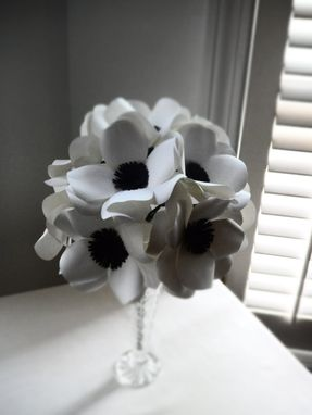 Custom Made Black And White Anemone Paper Flower Bouquet