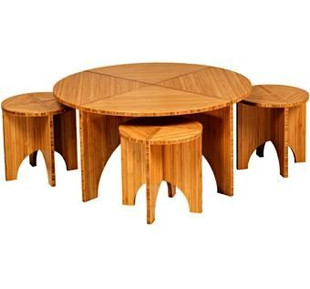Custom Made Amber Bamboo Coffee Table And 4 Stools