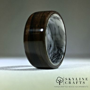 Custom Made Ebony Bentwood Ring. Ebony Ring With Black & White Resin Core