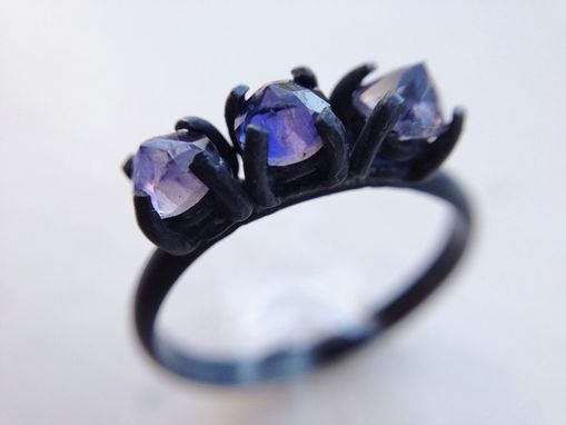 Custom Made Triple Inverted Natural Lolite Ring - Oxidized Silver Ring