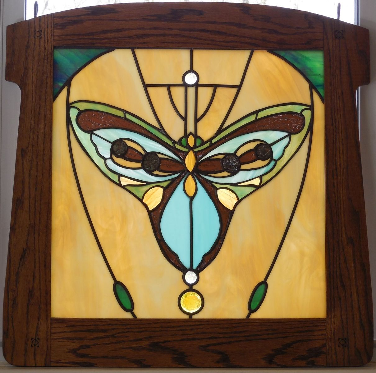 Hand Made Stained Glass Panel Art Deco Butterfly Framed In Oak by ...