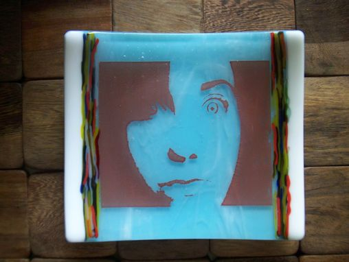 Custom Made Family Photograph In A Fused Glass Dish