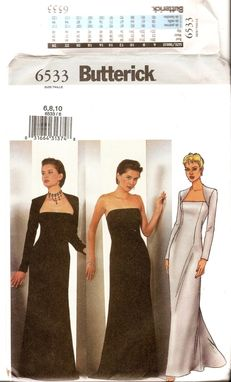 Custom Made Butterick 6533 Misses Strapless Dress & Shrug Pattern