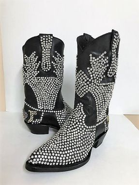 Custom Made Cowboy Boots Full Crystals Design Hand Made Product And 100 % Genuine Leather