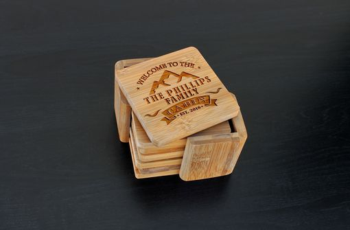 Custom Made Custom Bamboo Coasters, Custom Engraved Coasters --Cst-Bam-Phillips Cabin