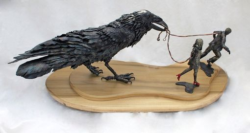Custom Made Sculpture, Raven With Figures.