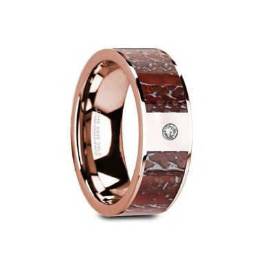 Custom Made Greuv Flat Polished 14k Rose Gold Red Dinosaur Bone Inlay With White Diamond Setting - 8mm