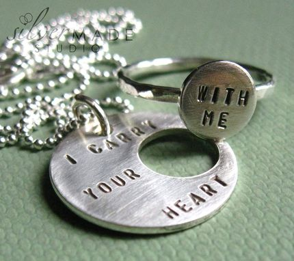 Custom Made I Carry Your Heart Pendant And Ring Set (Intertwine)