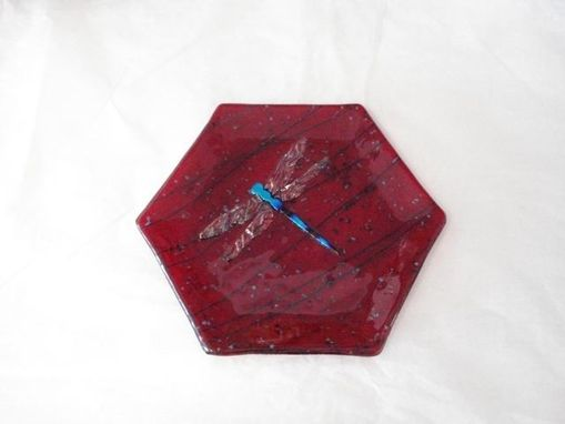 Custom Made Hexagon Dragonfly Fused Glass Plate