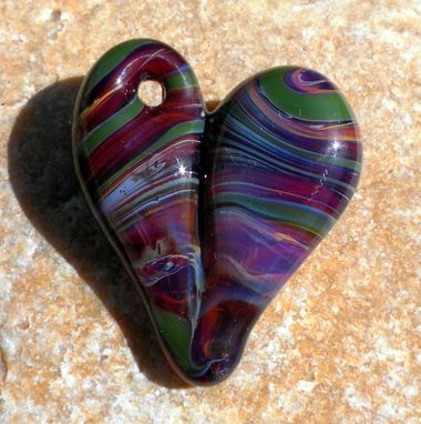 Custom Made Hand-Blown Glass Heart Pendant In Dark Purple And Kelly Green