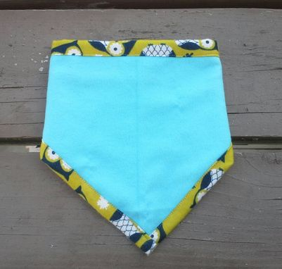 Custom Made Owl Print Bandana Bib For Baby, Bright Yellow Bibdana