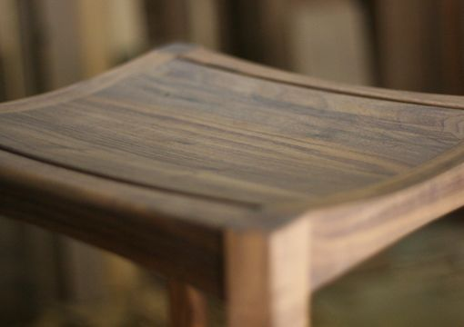 Custom Made Walnut Stool - Solid Seat