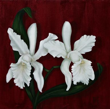 Custom Made Pair Of Orchids Painting