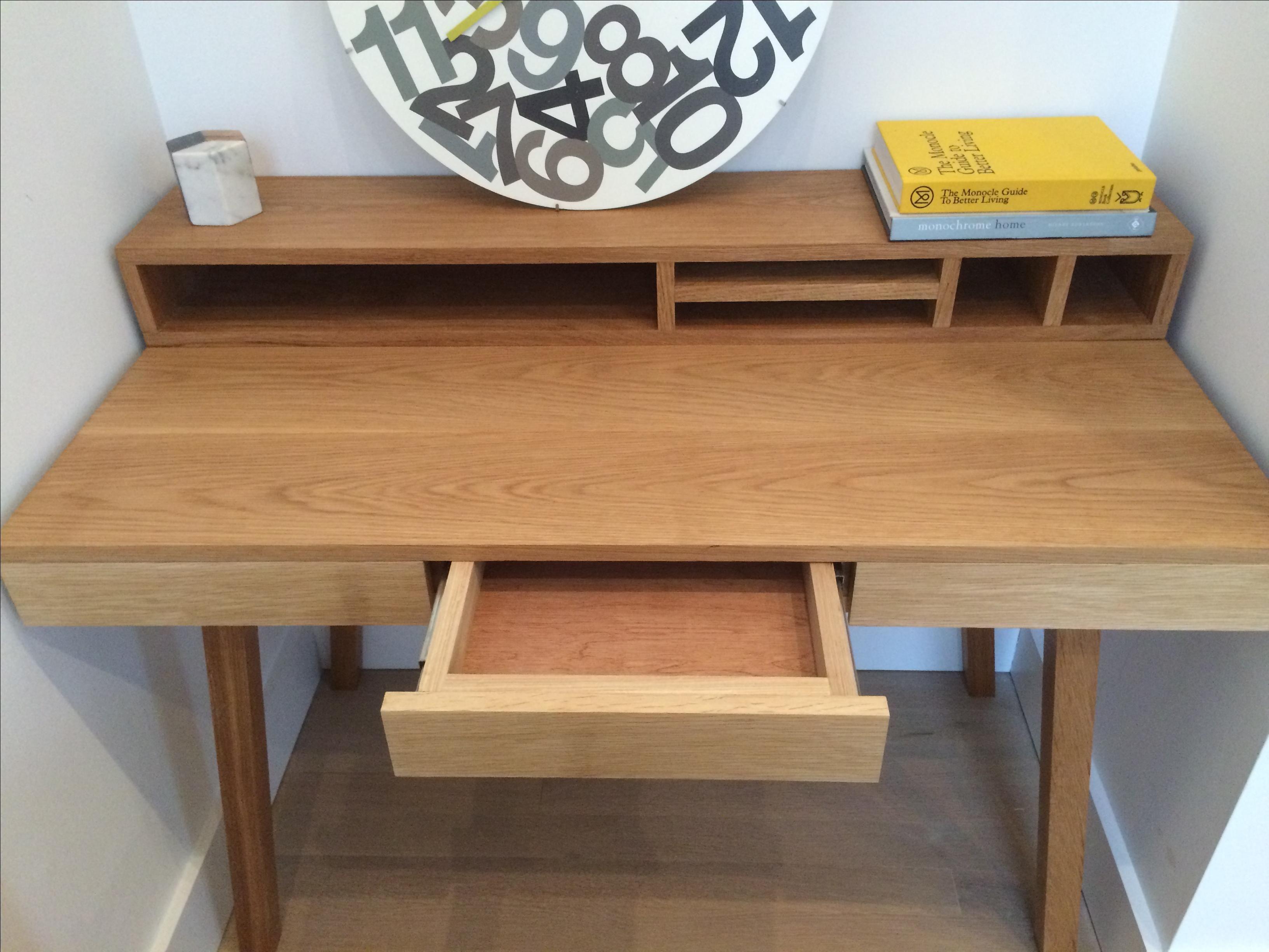 Custom Made Oak Desk With Hutch