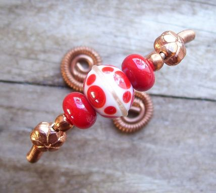 Custom Made Wire Wrapped Copper Bracelet With Red Lamp Work Beads