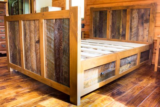 Custom Made 4 Drawer Rustic Reclaimed-Barn Wood Platform Queen Bed