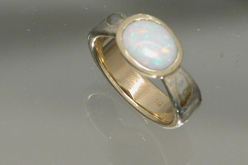 Custom Made 22kt Yellow Gold Layered With Sterling Silver Mokume Gane Ring With Opal