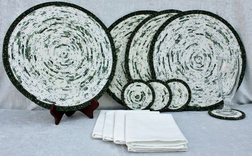 Custom Made Fabric Placemat Set (4) - Fabric Wrapped Clothesline - Coiling - Dk Green/Ivory