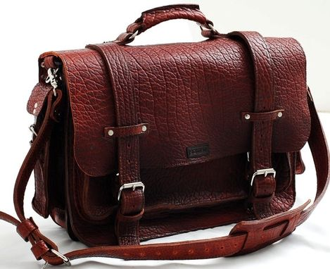 Custom Made Leather Bag - Unisex American Buffalo Leather Bag Or Leather Briefcase -  Made In Usa In Tobacco
