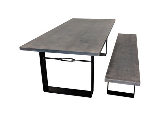 Custom Made (Free Shipping) Gray Urban Industrial Farmhouse Dining Table With Metal Legs