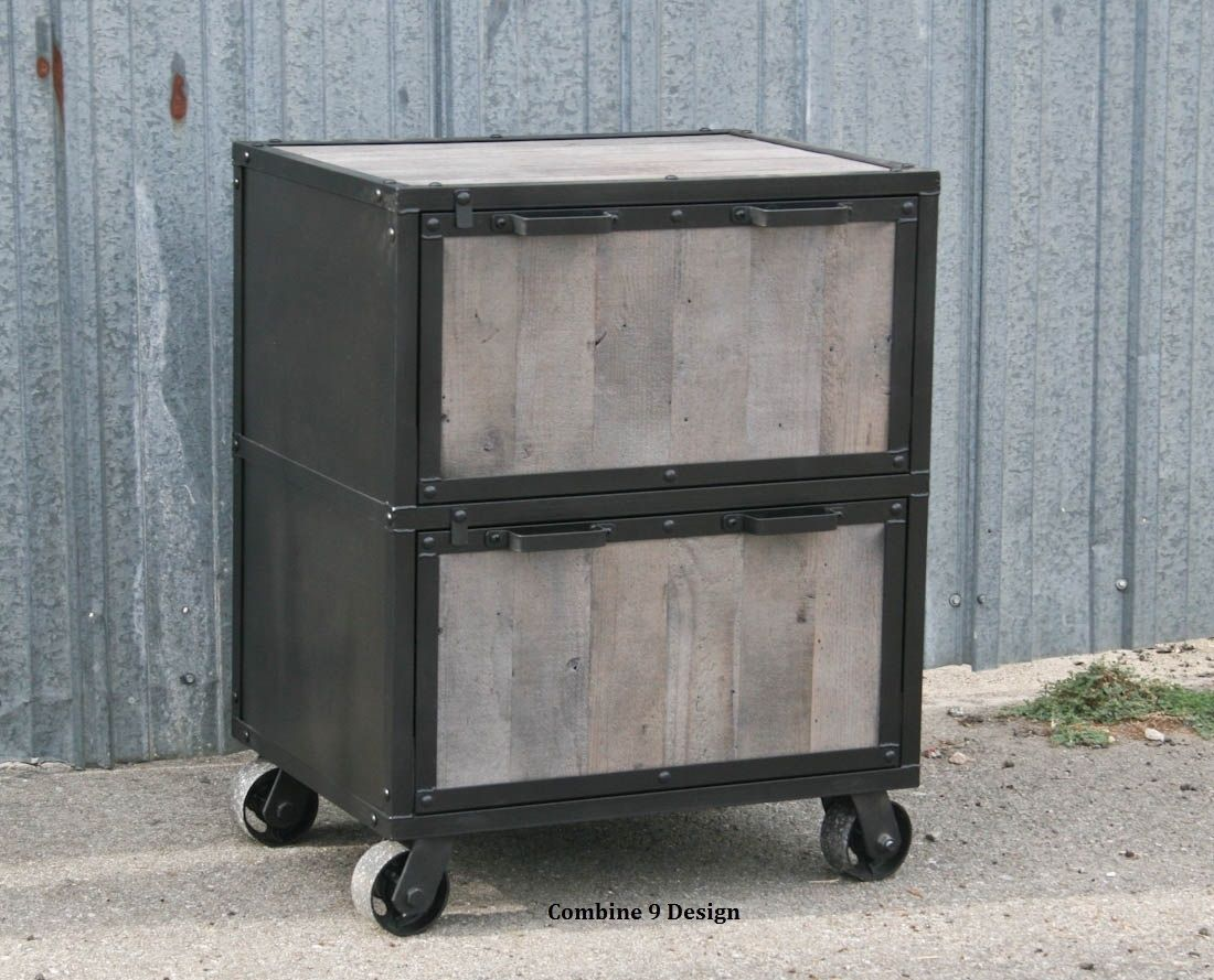 Buy a Hand Crafted Vintage Industrial File Cabinet. Reclaimed Wood ...