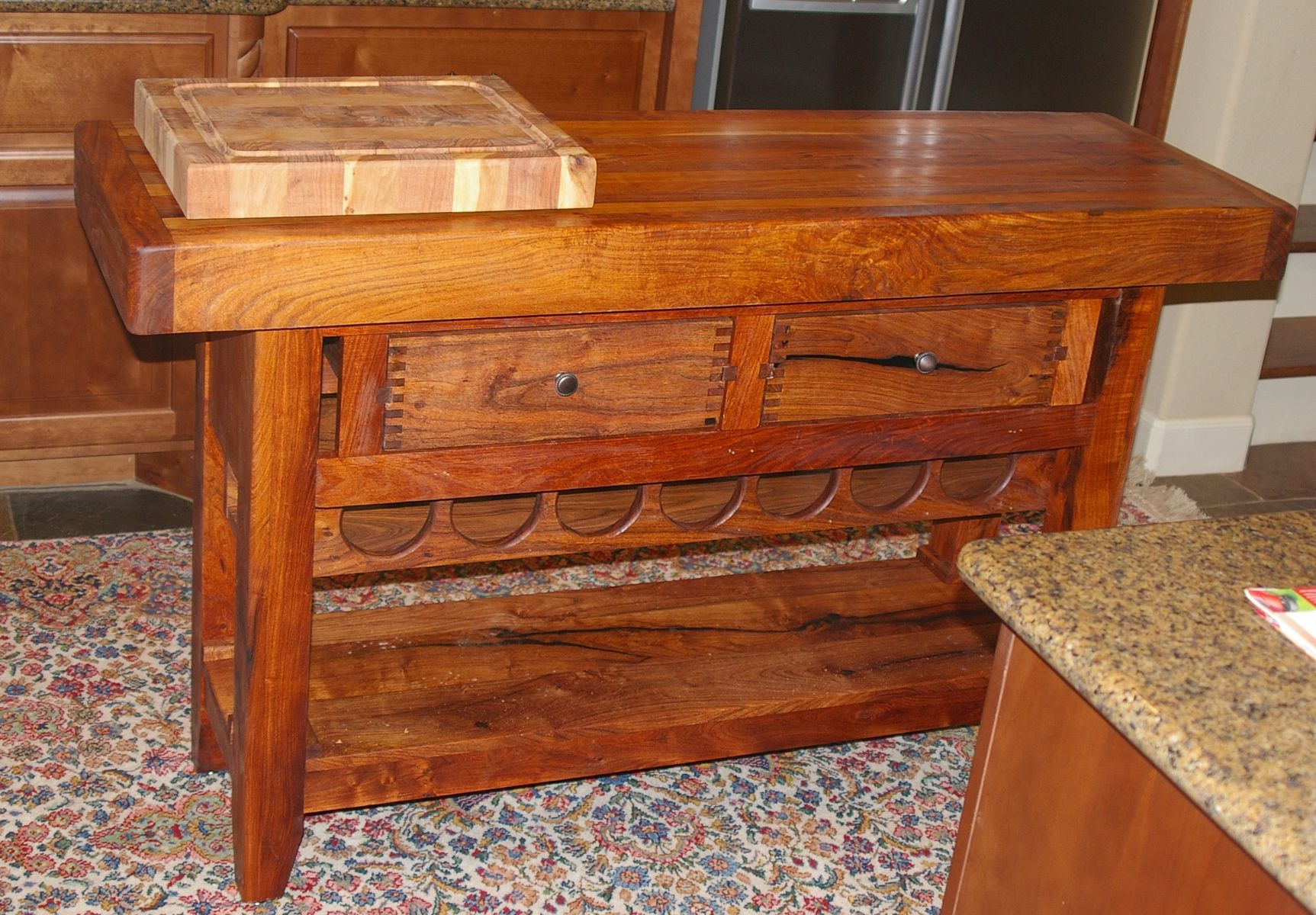 Hand Crafted Kitchen Island With Wine Rack by Lonestar Woodworks
