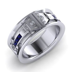 droid flat band gents - Star Trek Wedding Ring