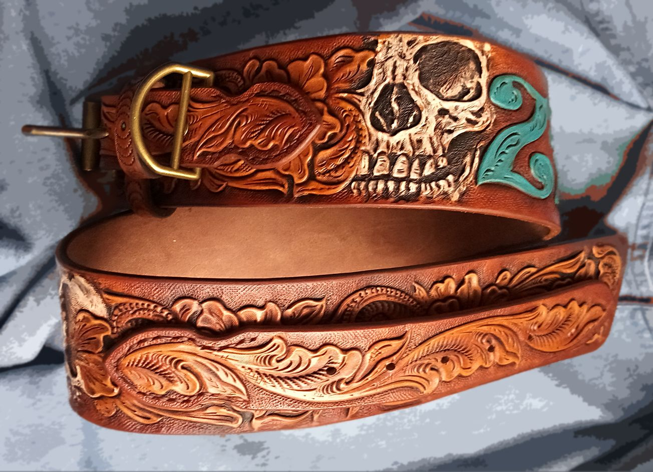 03c913ae54f4 Custom Made Dog Collar Personalized Z_R Sheridan Skull Ranger Style Hand  Tooled Hand Carved
