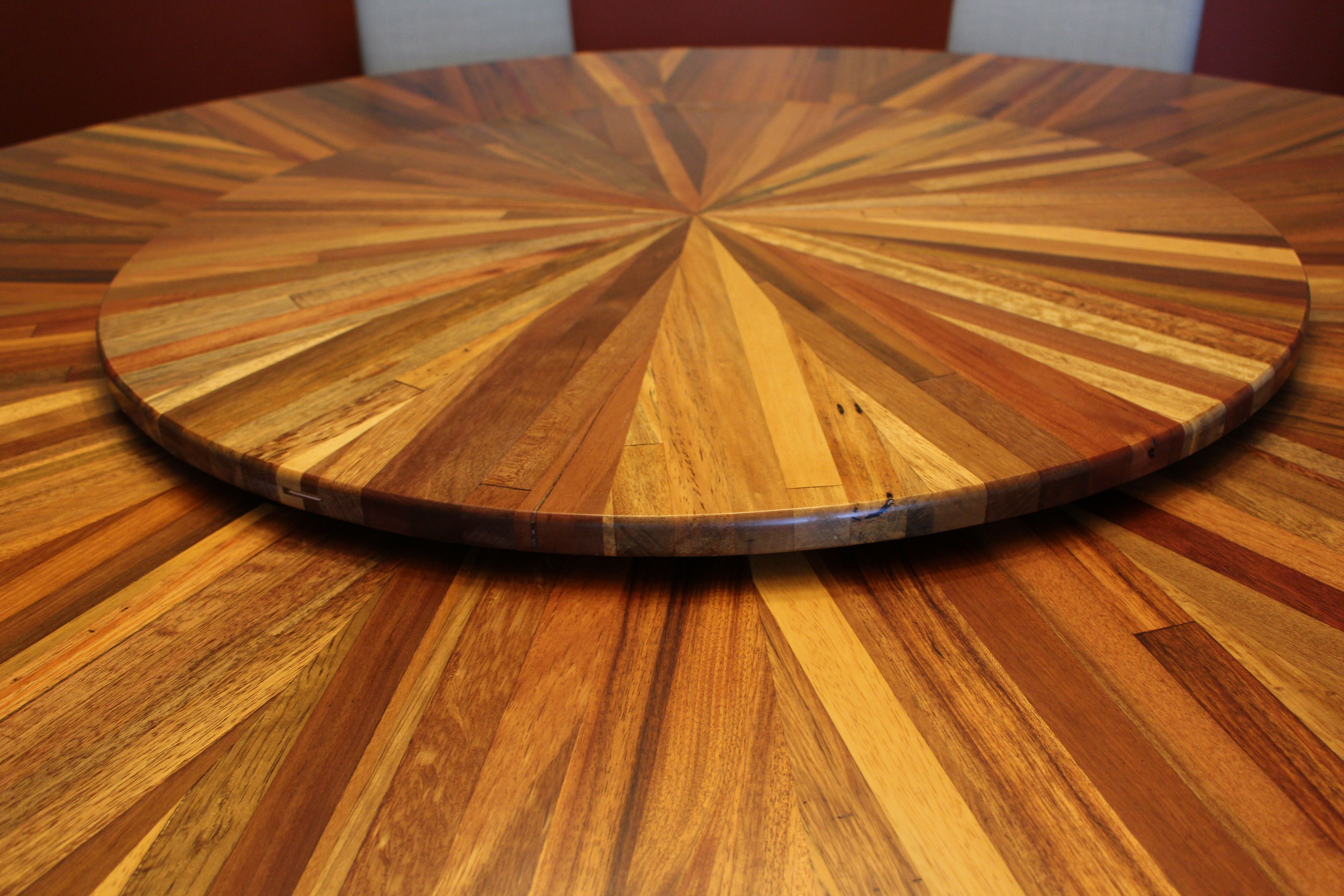 Custom Made Mixed Exotic Pedestal Dining Table With Lazy Susan by