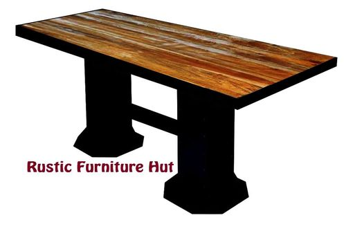 Custom Made Industrial Reclaimed Wood & Steel Pub/Dining Table By Rustic Furniture Hut