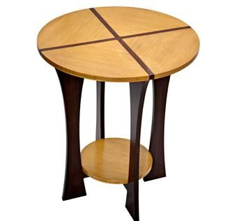 Custom Made Round Bamboo End Table With Shelf