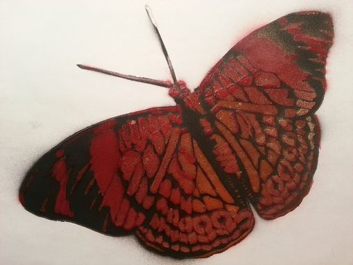 Custom Made Red & Gold Butterfly Graffiti Painting