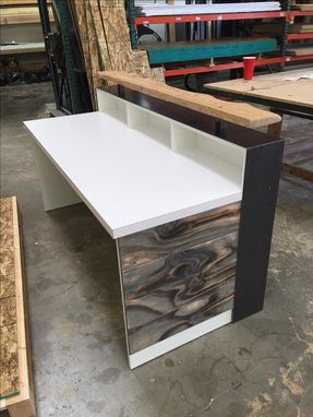 Custom Made #64 White Desk Top Distressed Wood Desk With Riser Piece