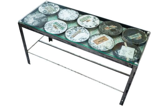 Custom Made Film Canister Coffee Table With Glass Top