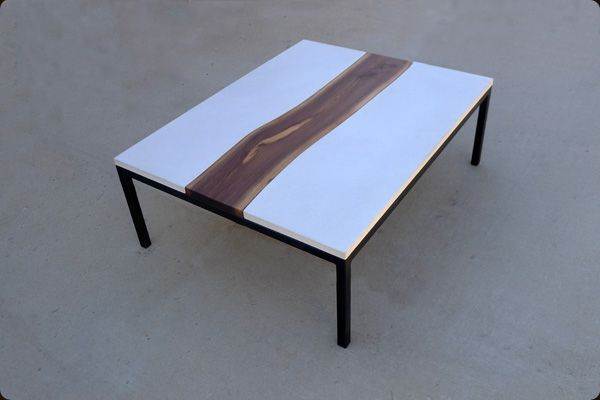 Hand Made Concrete Steel And Live Edge Walnut Table By