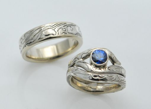 Custom Made Three Ring Custom Mokume Gane Wedding Set With Diamond-Cut Blue Sapphire