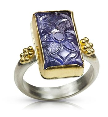 Custom Made Carved Tanzanite Ring