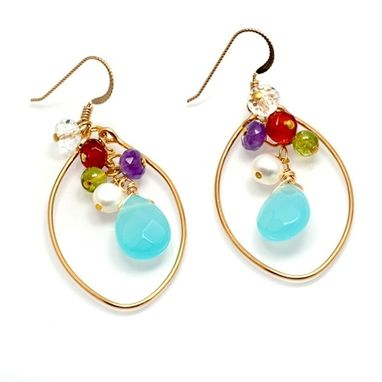 Custom Made Colorful Gemstone Earrings