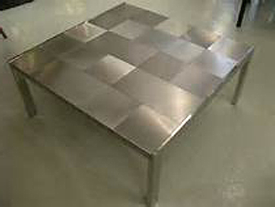 Custom Made Stainless Steel Coffee Table With Checkerboard Pattern Top