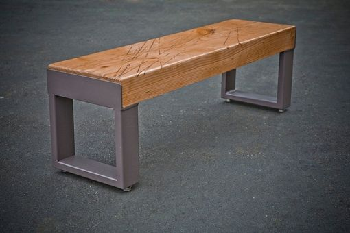Custom Made Recycled Wood And Metal Bench