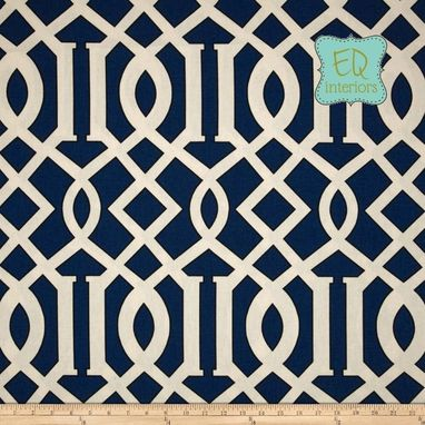 Custom Made Custom Designer Curtain Panels In Renaldi Kimball Navy Blue Lattice 72l X 50w